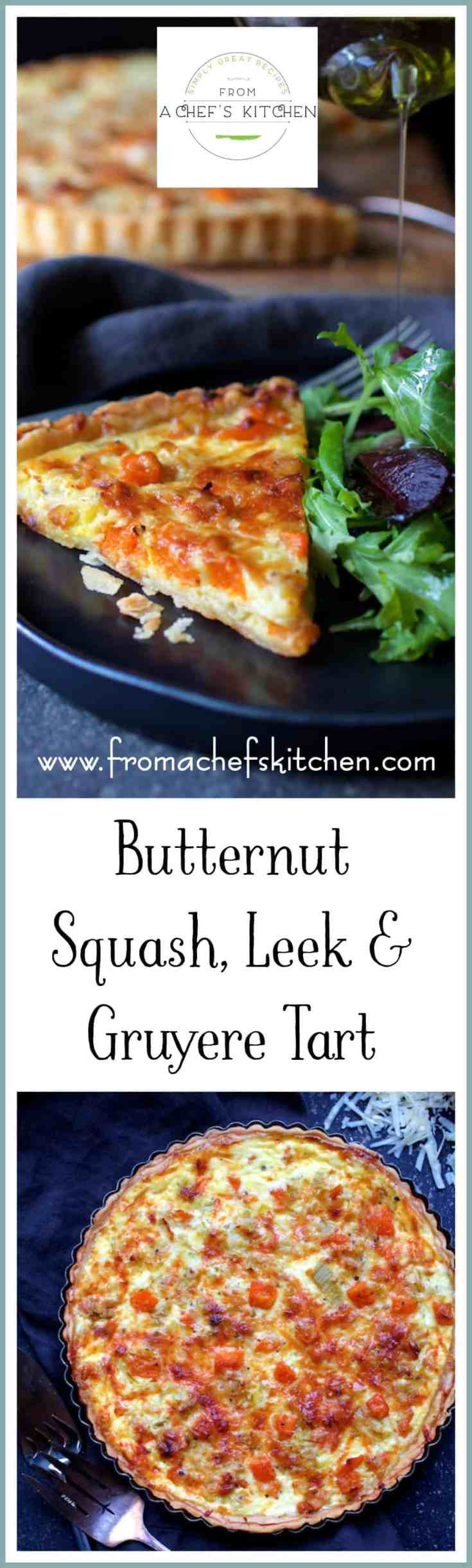 Butternut Squash, Leek and Gruyere Tart is a lovely French-inspired midwinter meal perfect for lunch, brunch or light supper.  #tart #quiche #butternutsquash #squashrecipes