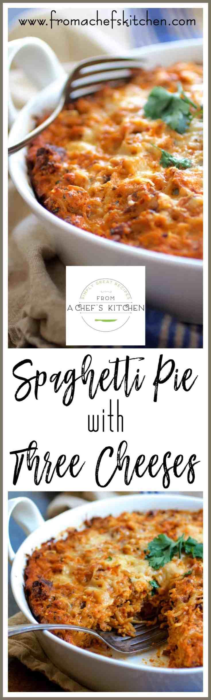 Spaghetti Pie with Three Cheeses--smoked mozzarella, ricotta and Parmesan--is how to turn leftover spaghetti into something amazing! #wastenot #spaghetti #pasta #cheese #leftovers