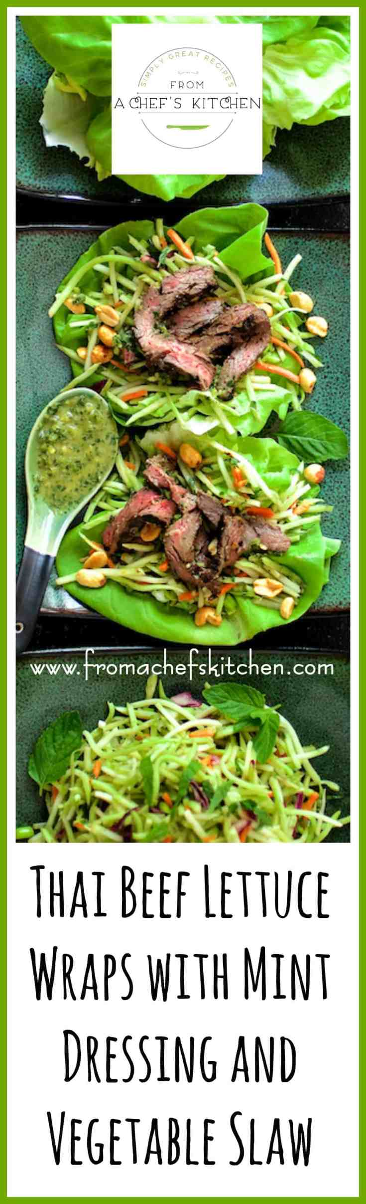 Thai Beef Lettuce Wraps with Mint Dressing and Vegetable Slaw is full of fresh, crunchy vegetables and lively herbs!  It's the perfect meal to make when the mint hits the fan! #Thaifood #Thai #beef #beeflettucewrap #mint #vegetable