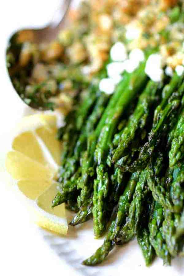Roasted Asparagus with Goat Cheese and Walnut Lemon Gremolata - Close-up view