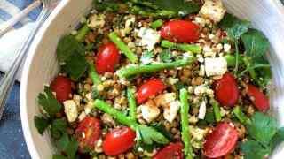 Lemony Lentil Asparagus and Tomato Salad with Feta Cheese