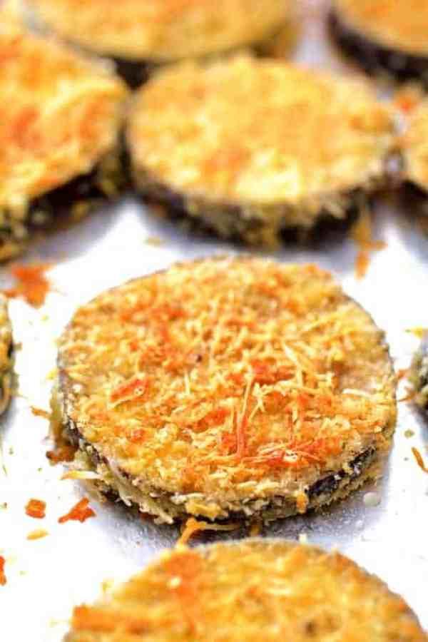 Eggplant Parmesan Stacks - Crispy golden eggplant slices on baking sheet after baking