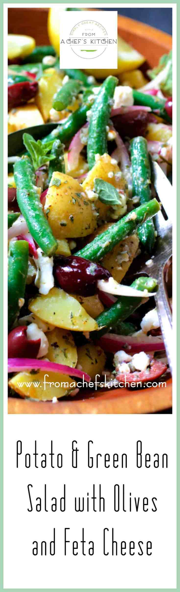 Potato Green Bean Salad with Olives and Feta Cheese is a lovely Greek-inspired twist on traditional potato salad! #potatosalad #potato #olives #fetacheese #Greekfood