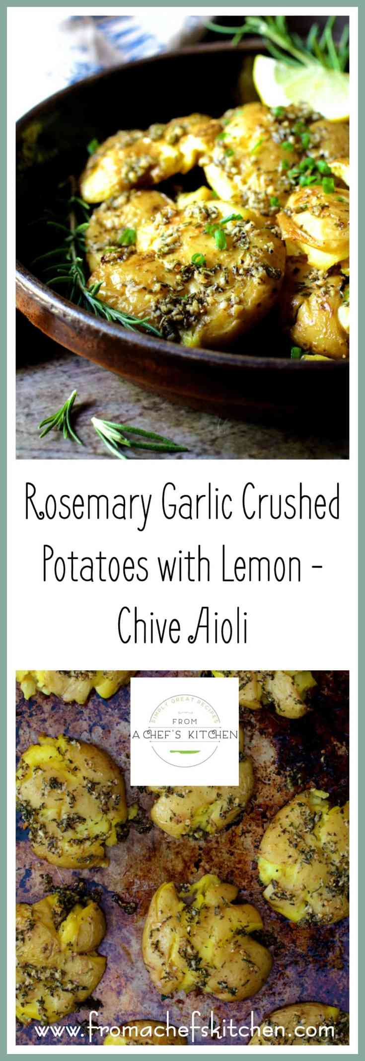Rosemary Garlic Crushed Potatoes with Lemon Chive Aioli