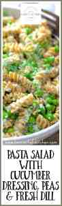 Not your average pasta salad, Whole Grain Pasta Salad with Cucumber Dressing, Peas and Fresh Dill is one of our all-time summer favorites!