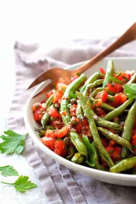 Roasted Green Beans with Tomato Caper Relish