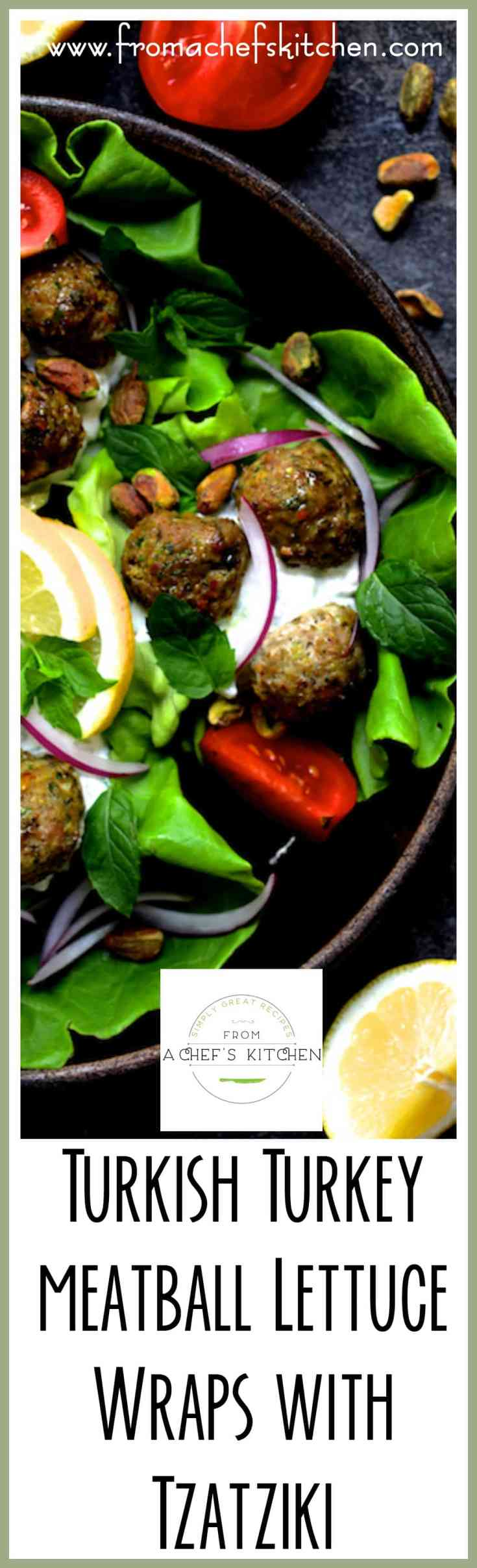 Turkish Turkey Meatball Lettuce Wraps with Tzatziki are healthful, light, easy, fun and so flavorful! It's the perfect summer dinner full of fresh ingredients! #turkishfood #middleeastern #turkey #meatballs #lettuce #lettucewrap #tzatziki