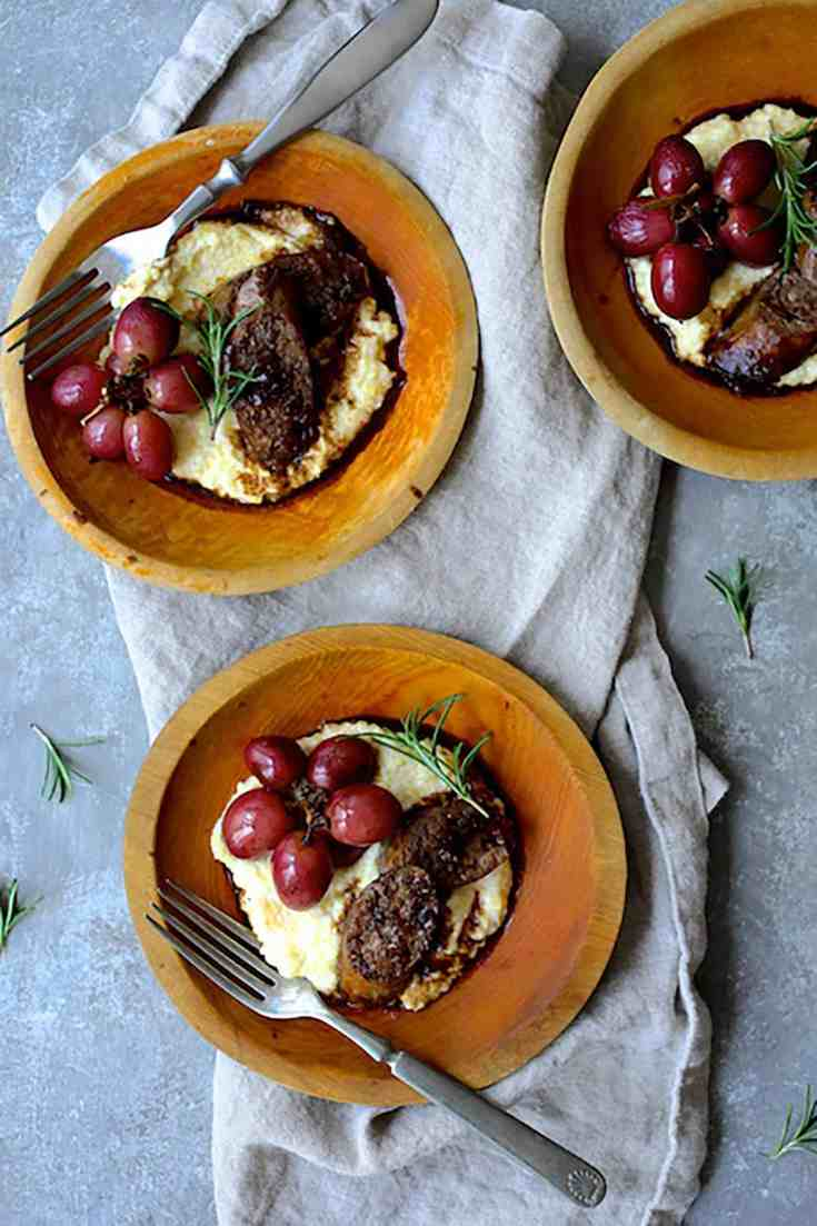 Balsamic Italian Sausage and Grapes over Goat Cheese Polenta