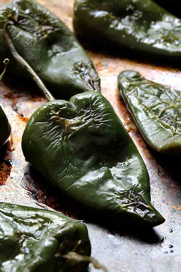 Chorizo and Brown Rice Stuffed Poblano Peppers - On baking sheet after roasting