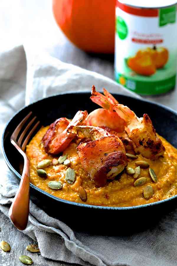 Pumpkin Chipotle and White Cheddar Grits with Bacon Wrapped Shrimp - Finished dish with brand's can in the background