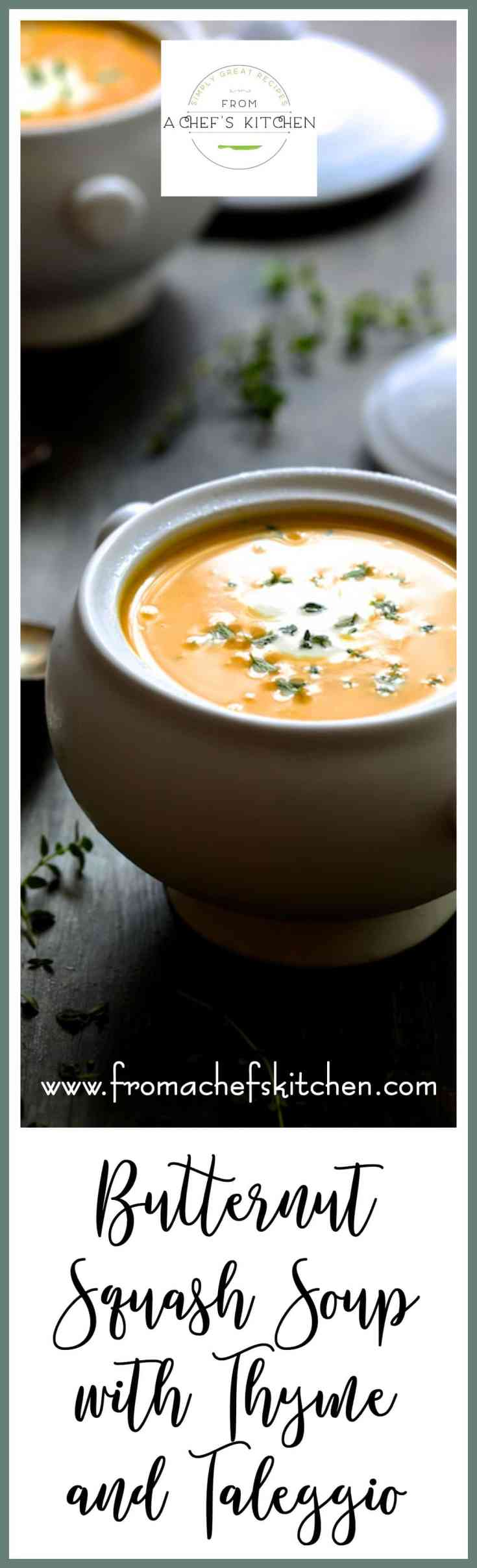 Butternut Squash Soup with Thyme and Taleggio is an elegant, rich and creamy soup that's perfect to serve this fall and winter! #butternutsquash #soup #thyme #taleggio