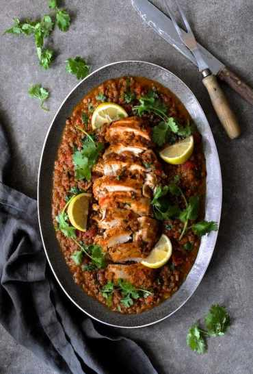 Slow Cooker Moroccan Turkey and Lentils on platter, top down shot