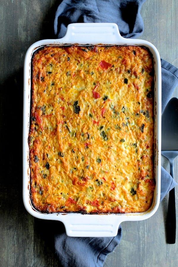 Spaghetti Squash Poblano Chorizo Breakfast Casserole - Overhead shot similar to hero shot but vertical
