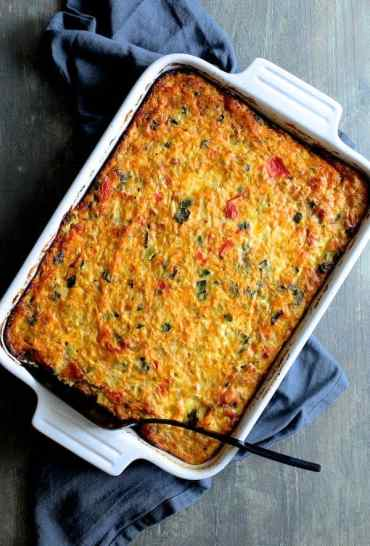 Spaghetti Squash, Poblano and Chorizo Breakfast Casserole Hero Shot