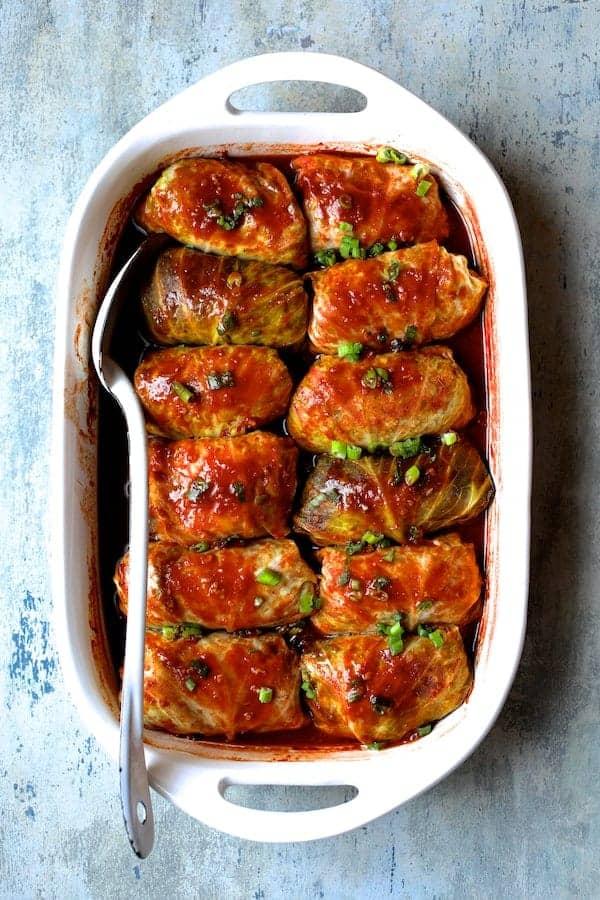 Spicy Asian Pork Cabbage Rolls