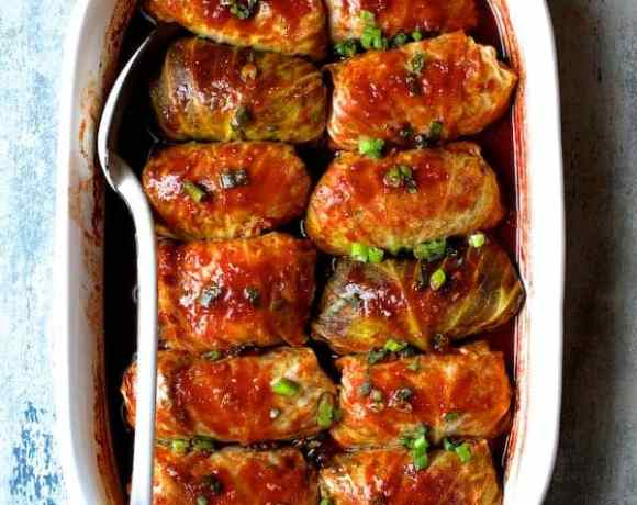 Spicy Asian Pork Cabbage Rolls overhead shot of entire pan