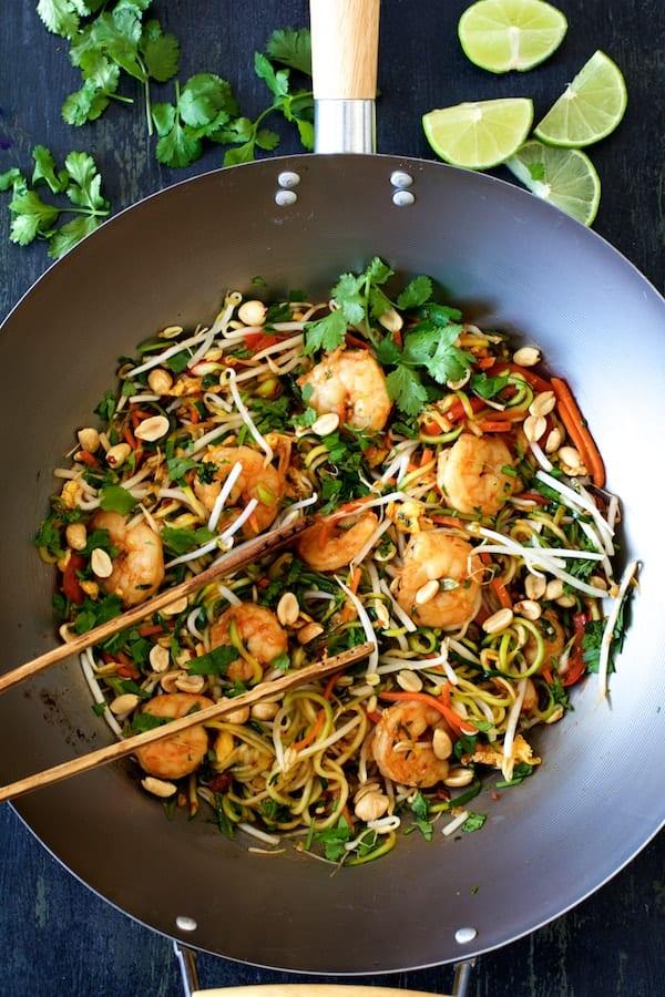 Shrimp Pad Thai with Zucchini Noodles