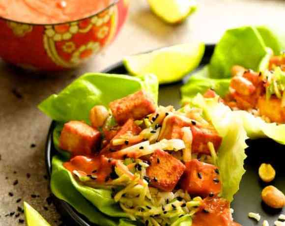 Vegan Korean Tofu Lettuce Wraps with Tahini Gochujang Sauce and Spicy Slaw