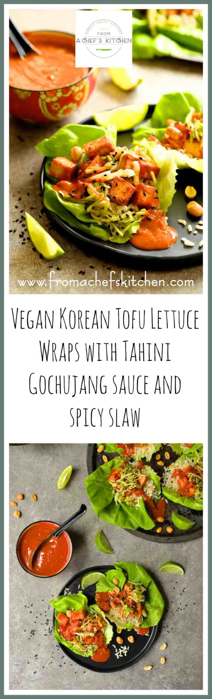 Vegan Korean Tofu Lettuce Wraps with Tahini Gochujang Sauce and Spicy Slaw are the fun, flavorful and healthful way to get your Korean food fix! #vegan #vegetarian #tofu #lettucewrap #tahini
