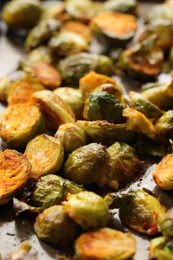 Sriracha Sweet Chili Roasted Brussels Sprouts - Brussels sprouts after roasting with Sriracha sauce