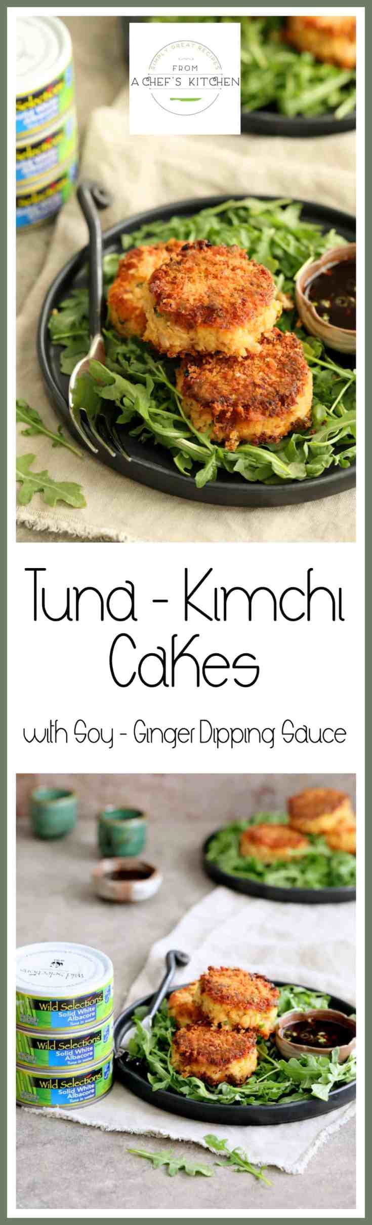 Tuna Kimchi Cakes with Soy Ginger Dipping Sauce are crispy, delicious and packed with flavor!  Made with Wild Selections® Solid White Albacore Tuna, it's tuna you can feel good about eating. @wildselections (https://www.pinterest.com/wildselections) #WildSelections #SelectSustainable #Ad