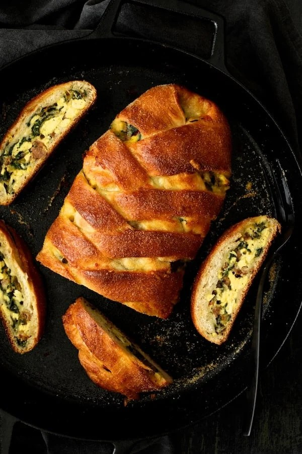 Savory Breakfast Strudel with Eggs Sausage and Swiss Chard