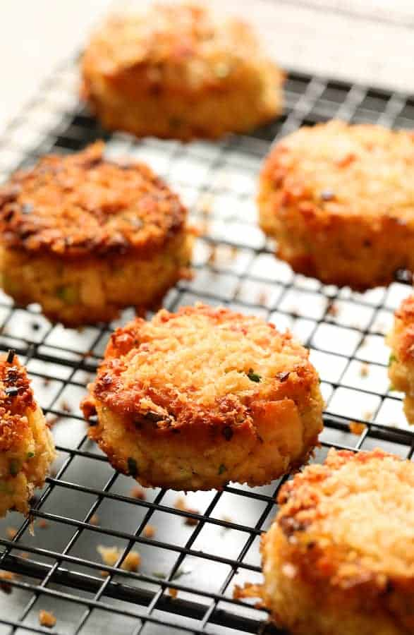 Tuna Kimchi Cakes with Soy Ginger Dipping Sauce on cooling rack after frying