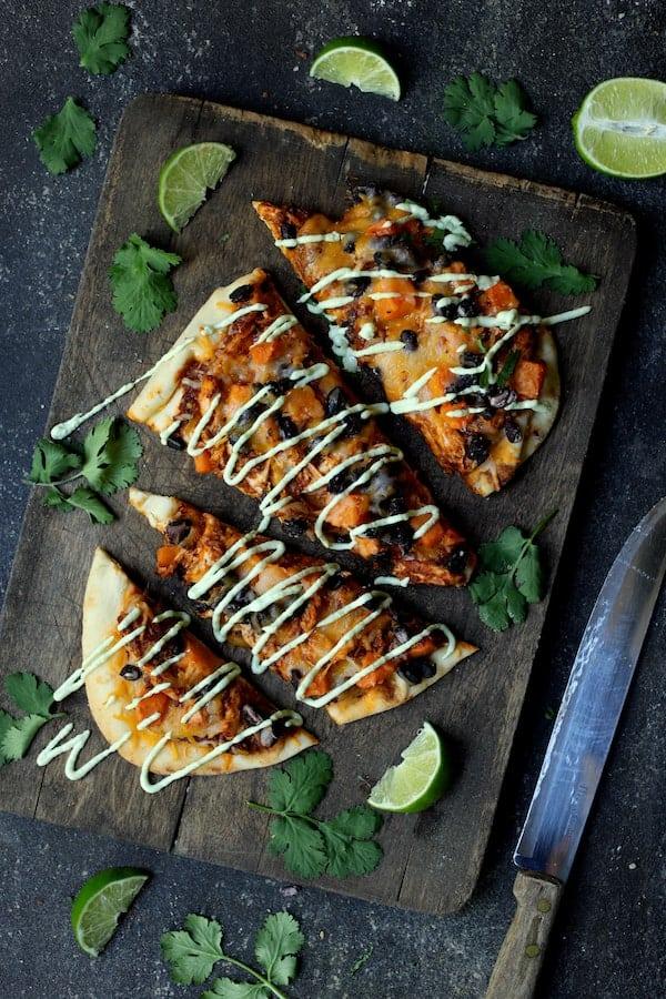 Chipotle Chicken Sweet Potato and Black Bean Flatbread Pizzas with Avocado Sour Cream