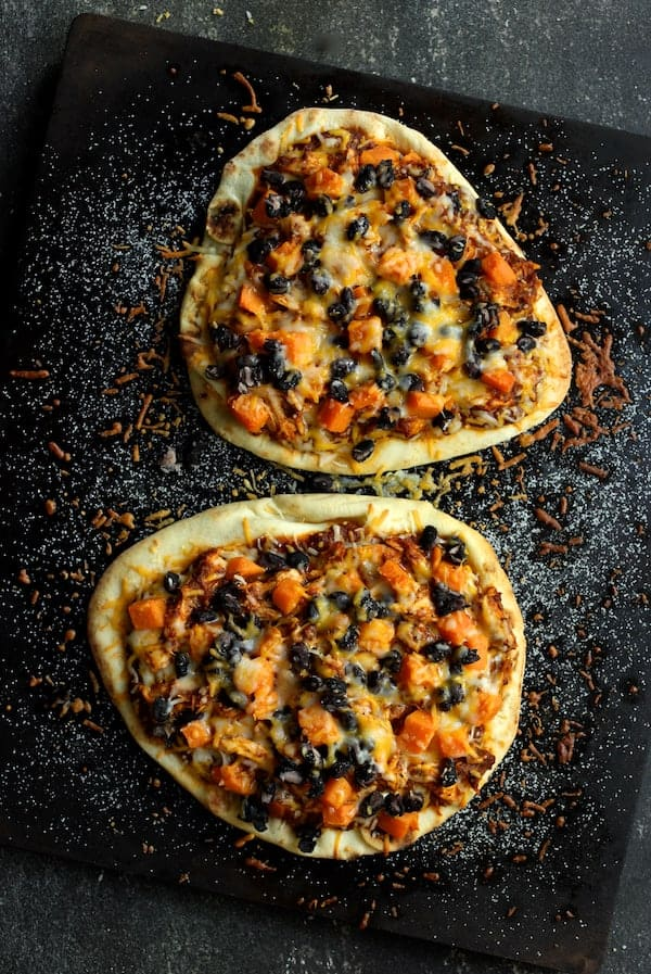 Chipotle Chicken Sweet Potato and Black Bean Flatbread Pizzas with Avocado Sour Cream - After baking on pizza stone