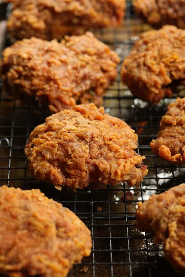 Nashville Style Hot Fried Chicken close-up of chicken on rack after frying