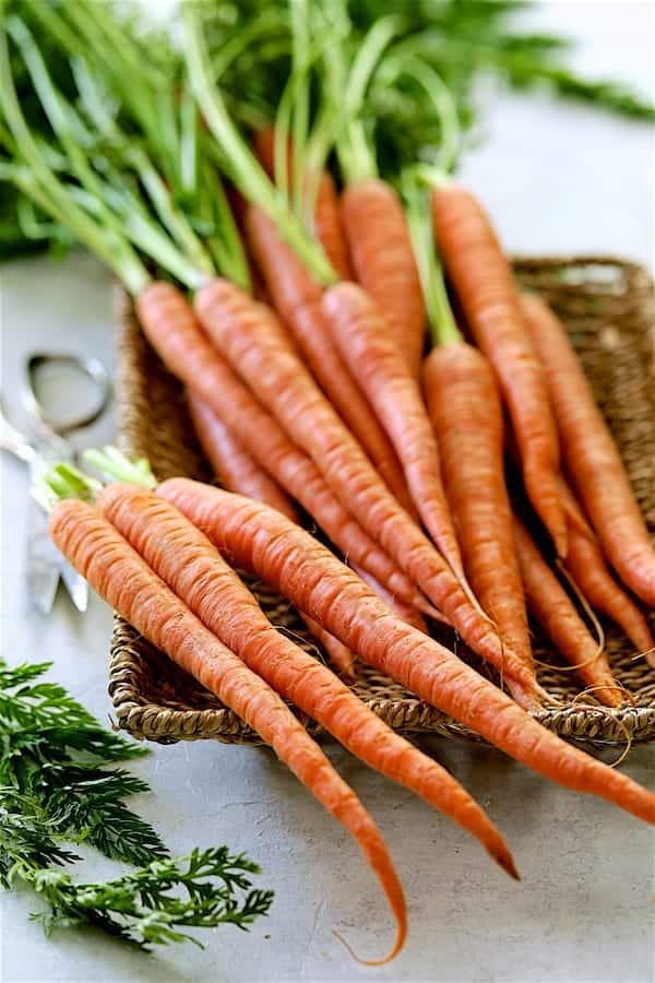 Spicy Indonesian Vegan Carrot Almond Soup - Fresh carrots in wicker basket