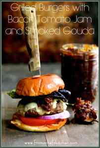 Fire up the grill for Father's Day! Made with The Fresh Market's made-in-store Gourmet Burgers,Grilled Burgers with Bacon Tomato Jam and SmokedGouda is a treat your dad will love!