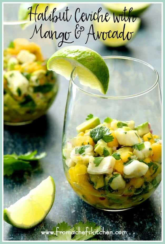 Halibut Ceviche with Mango and Avocado is light, tangy and refreshing!  It's the perfect summer appetizer or light entree that's sophisticated yet so easy to make!  #halibut #ceviche #mango #avocado #fish #seafood