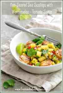 Pan-Seared Sea Scallops with [Yellow] Watermelon-Tomato Salsa is the perfect summer meal that requires little to no cooking and it's ready in under 30 minutes! #watermelon #scallops #tomato #salsa #seafood