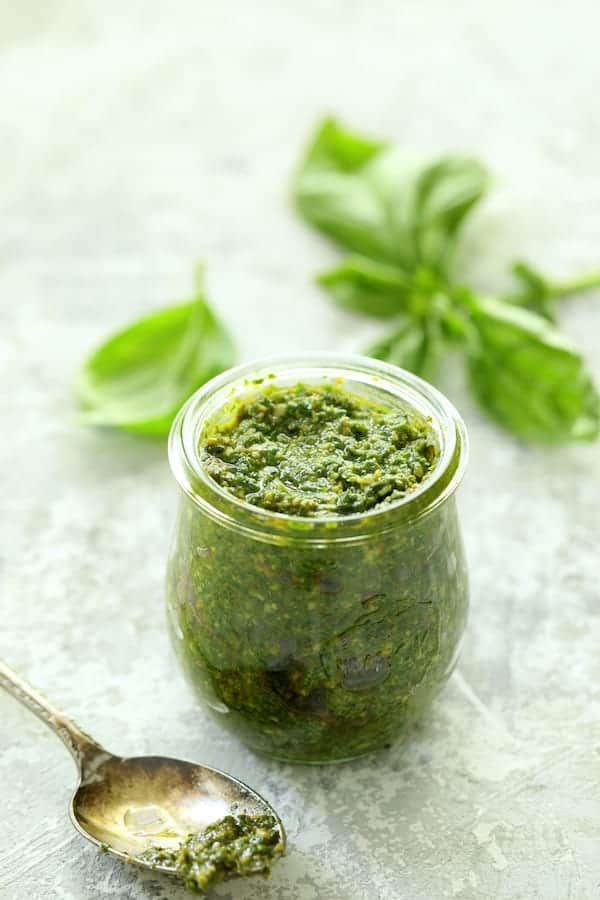 Easy Hash Brown Frittata with Pesto and Goat Cheese - Pesto Sauce in a jar