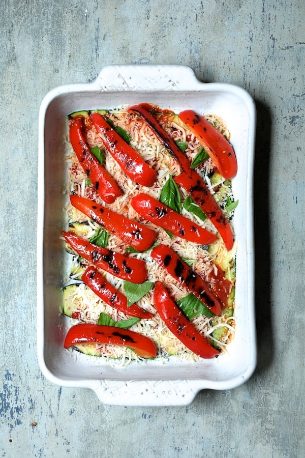 Italian Summer Vegetable Casserole - Second layer of casserole - Grilled red bell pepper