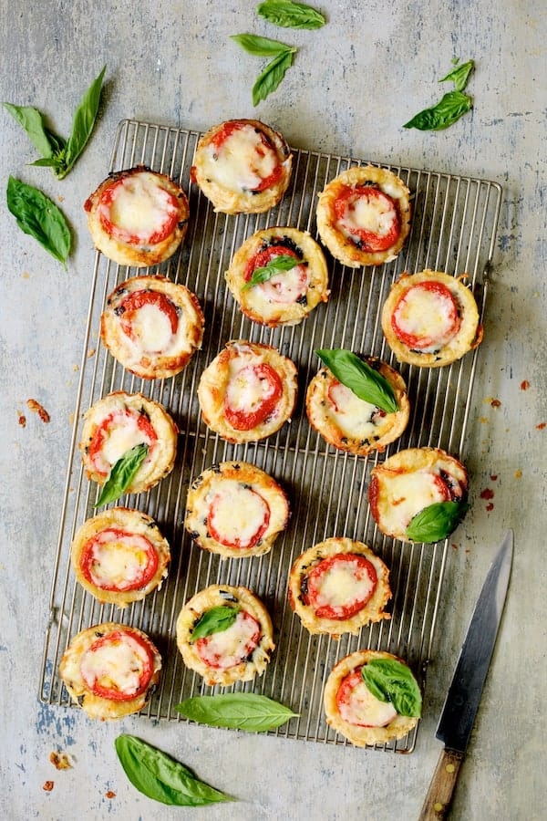 Mini Southern Tomato Pies - Overhead shot on cooling rack
