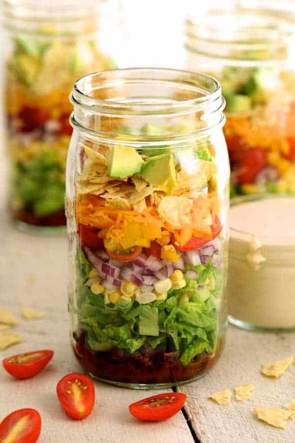 Southwest Layered Salad - Close-up of salad in Mason jar