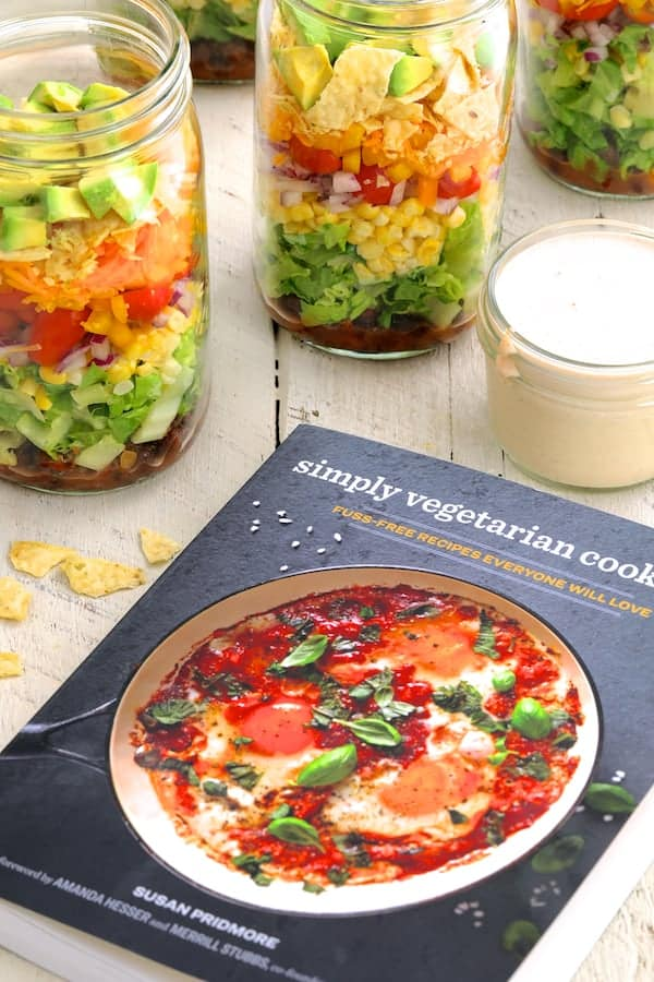 Southwestern Layered Salad - With cover shot of Simply Vegetarian Cooking cookbook