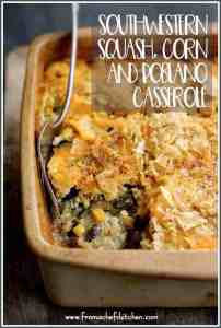 Southwestern Squash, Corn and Poblano Casserole is a spicy and delicious twist on a classic squash casserole with corn and earthy, slightly smoky poblano peppers! #vegetarian #vegetable #casserole