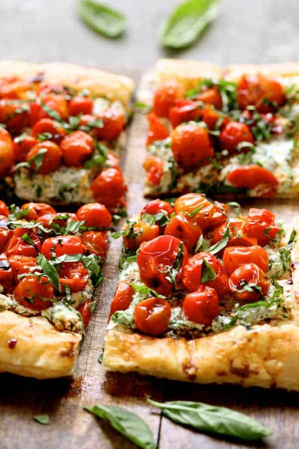 Roasted Cherry Tomato Tart with Herbed Ricotta - Another side view close-up