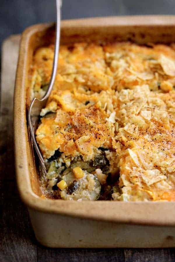 Southwestern Squash Corn and Poblano Casserole - Close-up of casserole with piece removed
