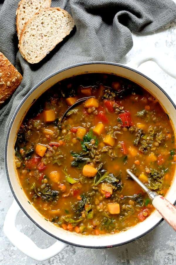 Spicy Kale Butternut Squash and Lentil Soup with Bacon