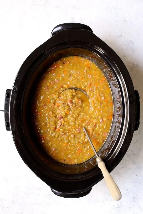 Smoky Slow Cooker Split Pea Soup with Chipotle - Overhead shot of cooked soup in slow cooker
