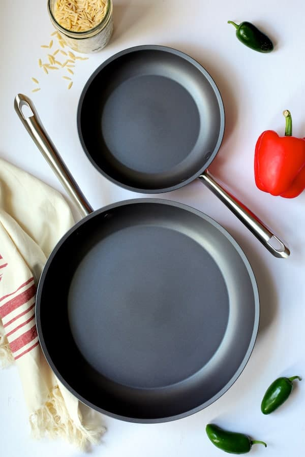 Southwestern Chicken Orzo and Black Bean Skillet - Overhead shot of Anolon skillets