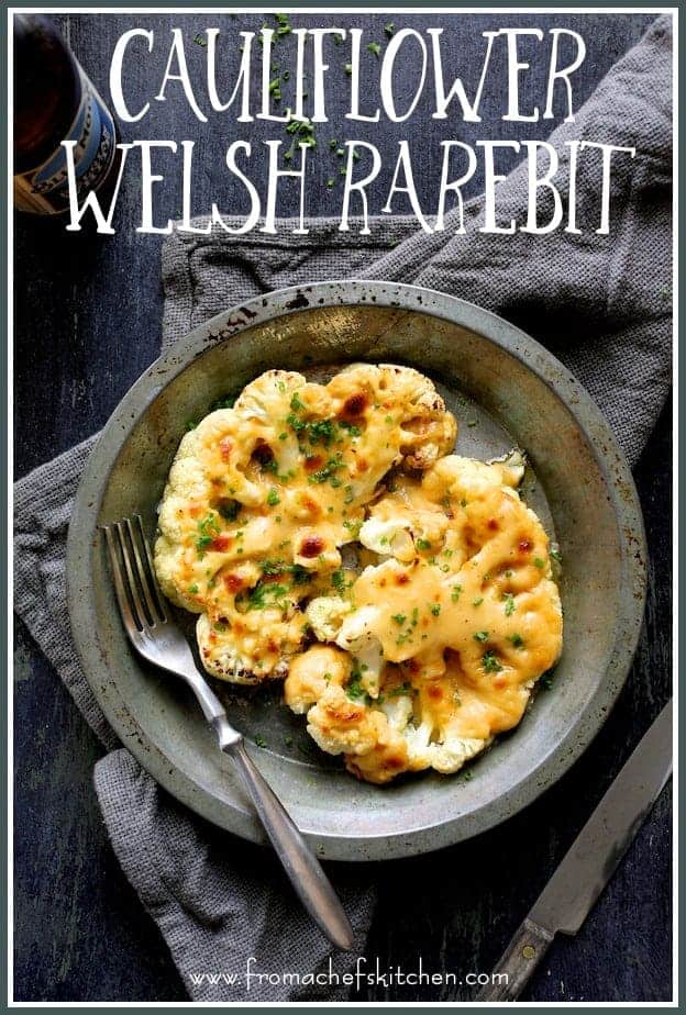Cauliflower Welsh Rarebit is how to turn cauliflower into an easy, cheesy beer-infused lower-carb comforting meatless meal!