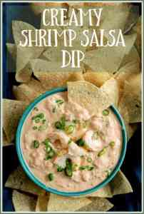 Shrimp Salsa Dip is super easy, super tasty and will be the hit of your party! Shrimp Salsa Dip has a touch of elegance and totally elevates chips and salsa to a whole new level!