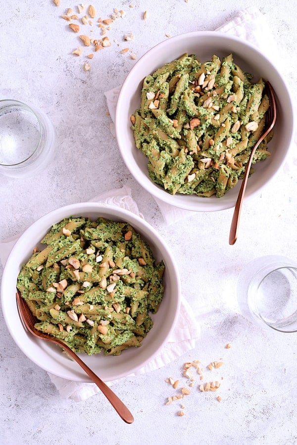 Modern Table Penne with Creamy Cashew and Spinach Pesto Sauce