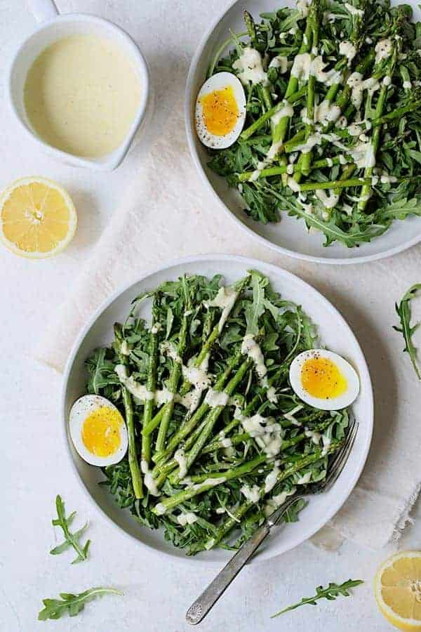 Arugula, Egg and Asparagus Salad with Creamy Lemon Vinaigrette