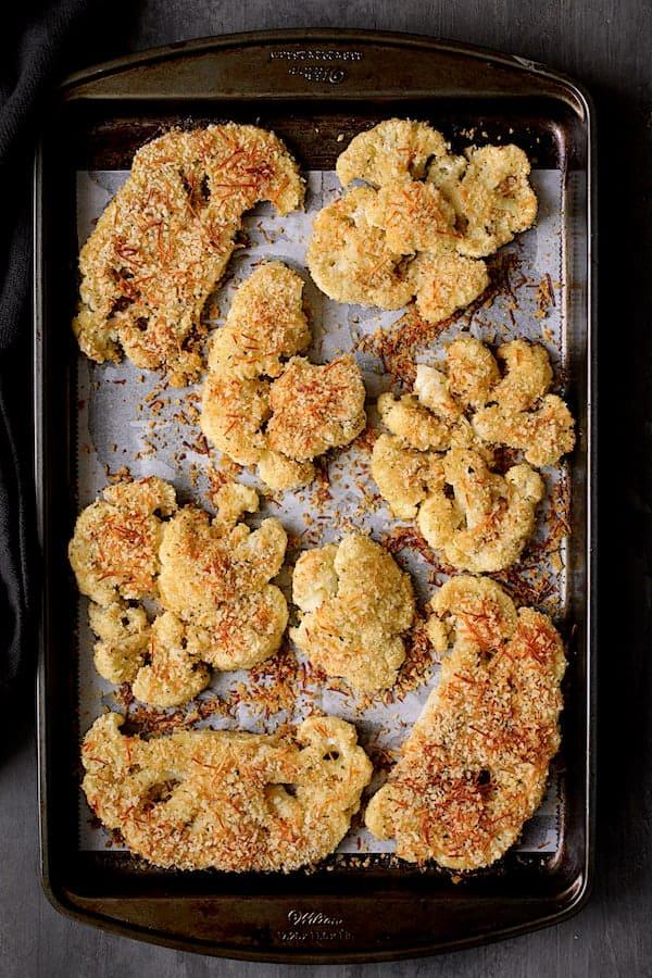 Cauliflower Parmigiana - Overhead shot of cauliflower after baking